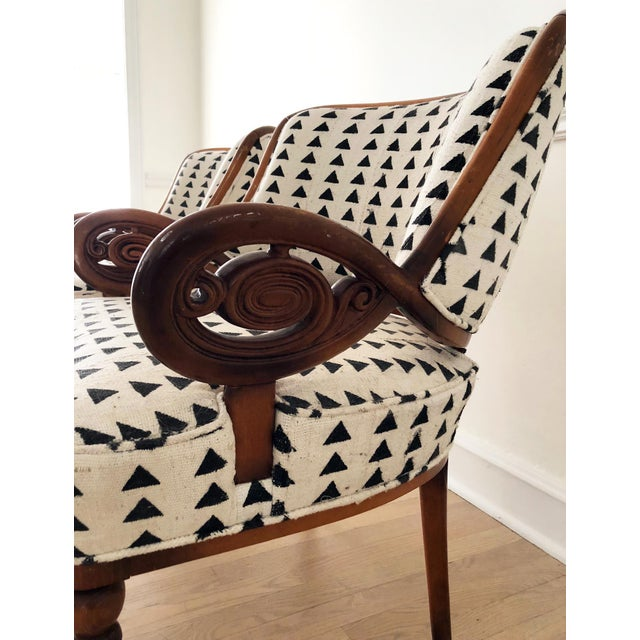 1940s Vintage Black & White Upholstered Arm Chairs - A Pair For Sale - Image 5 of 13