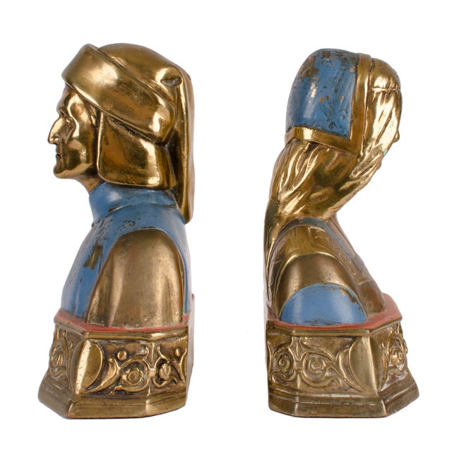 Nicely detailed pair of bronze-clad bookends of Dante and Beatrice by the Pompeian Bronze Company of New York c. 1920s....