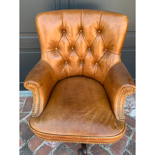 Retro Tufted Leather Desk Chair With Nail Heads in a beautiful Taffy color. Great petina.