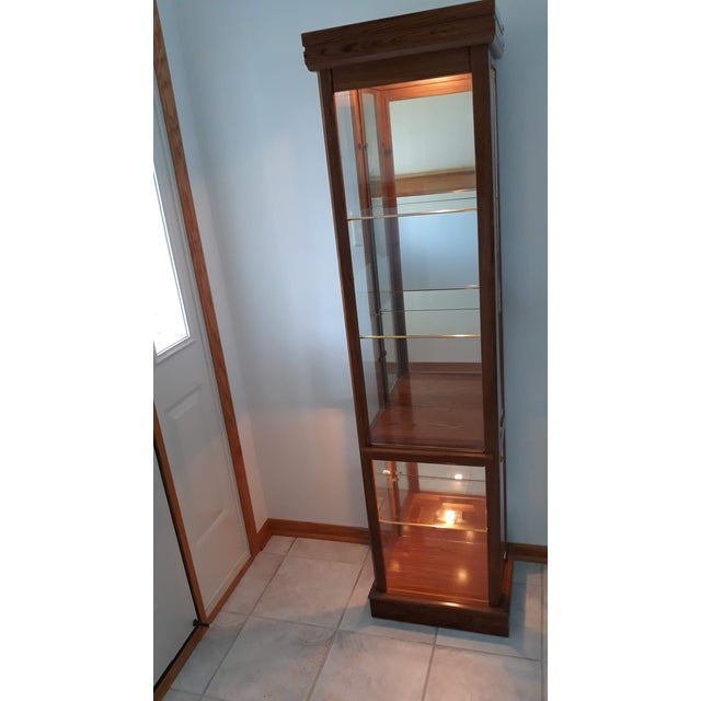 Modern Rectangular Wood & Glass Curio Cabinet For Sale - Image 3 of 9