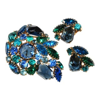 Weiss Majarani India Inspired Collection Brooch & Earrings For Sale