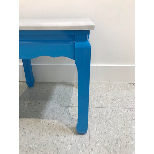 20th Century Ming Blue Chow Leg Marble Side Tables - a Pair For Sale - Image 4 of 8