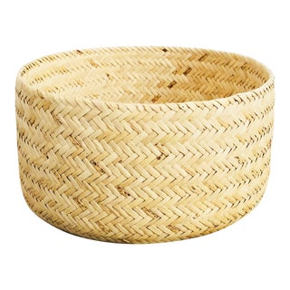 Vintage Large Round Woven Basket For Sale