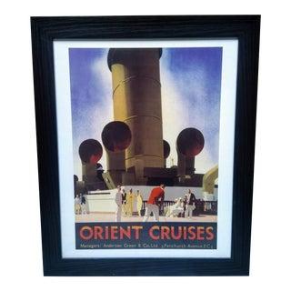 "1930s Vintage Andrew Johnson ""Orient Cruises"" Framed Poster For Sale"