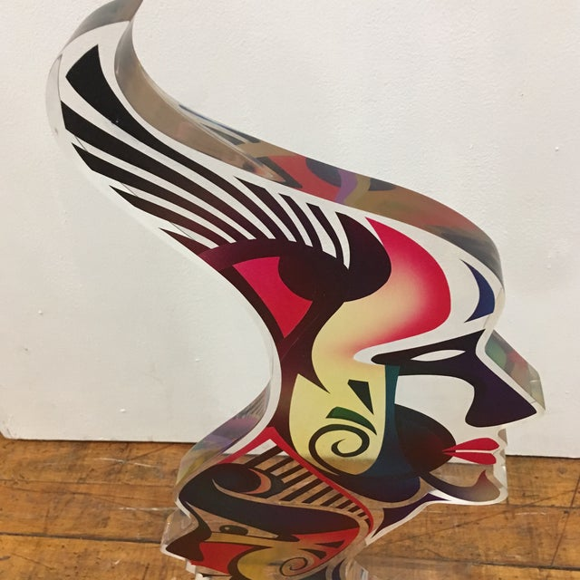 """Acrylic 1990's Acrylic Sculpture """"Two Faces"""" by Schlomi Haziza For Sale - Image 7 of 13"""