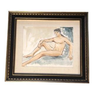 Original Vintage Female Nude Watercolor Painting For Sale