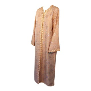 Vintage Moroccan Brocade Designer Caftan Maxi Dress Gown Kaftan Size L For Sale