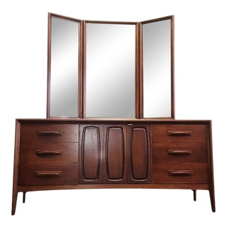 Mid-Century Broyhill Premier Emphasis Walnut Dresser and Mirror Circa 1960s For Sale