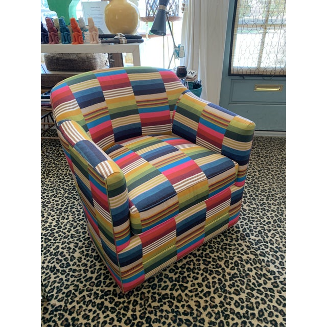 St. Frank Fabric Swivel Club Chair For Sale - Image 4 of 4