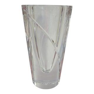1980s Orrefors Marin Crystal Vase by Jan Johansson For Sale