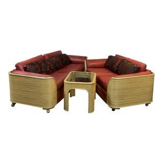 Split Bamboo Sofa, Loveseat, & Side Table For Sale