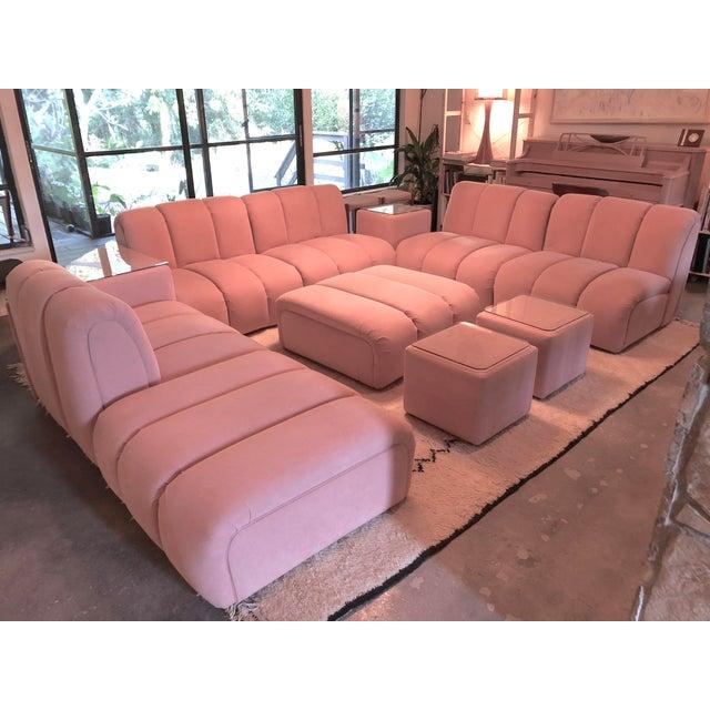 Pink Vintage Glam Mid-Century Modular Tubular Brutalist Pink Sectional Sofa--11 Piece Set For Sale - Image 8 of 9