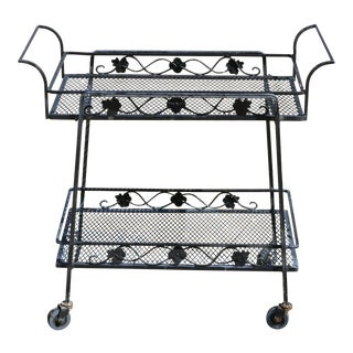 20th Century Victorian Russell Woodard Garden Patio Wrought Iron Rolling Serving Bar Cart For Sale