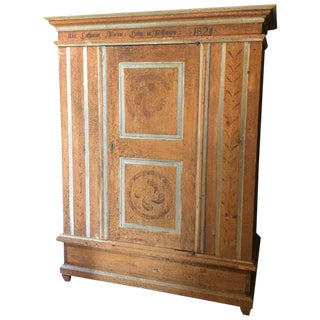 Faux Painted Swedish Armoire Wardrobe For Sale