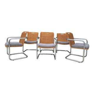 Mid Century Bar Chrome & Wicker Cantilever Dining Chairs- Set of 6 For Sale