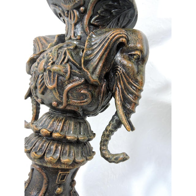 Metal Vintage Anglo Indian Bronze Style Patinated Elephant Table Lamps - a Pair For Sale - Image 7 of 8