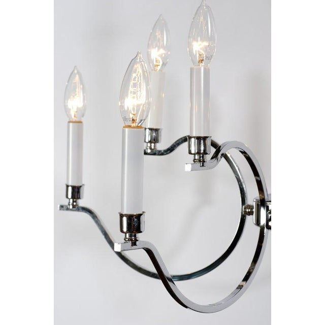 Mid-Century Modern Elegant Chrome & Glass Modernist Chandelier For Sale - Image 3 of 6