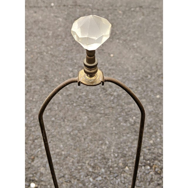 Vintage 20th Century French Empire Style Pressed Glass & Metal Lamps - a Pair For Sale In New York - Image 6 of 8