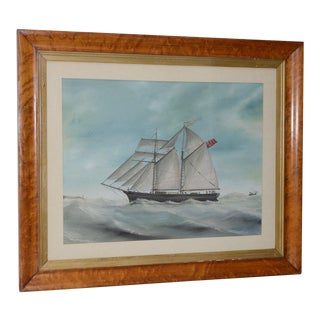 """Original Watercolor of the British Ship """"Kate"""" Out at Sea C.1890s to 1910 For Sale"""