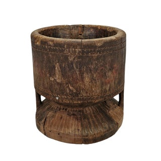 Old India Wood Pestle Pot For Sale