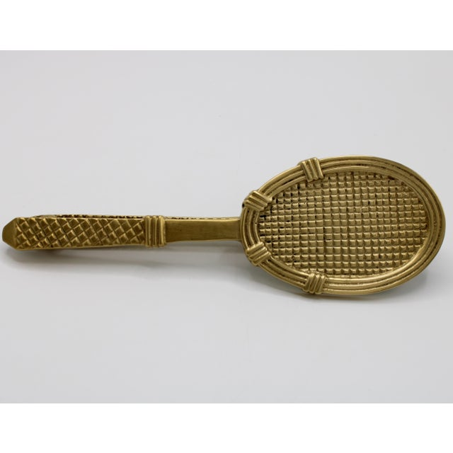 Vintage late '60s-early '70s solid brass tennis racket and ball door knocker. No maker's mark. In great condition, with...
