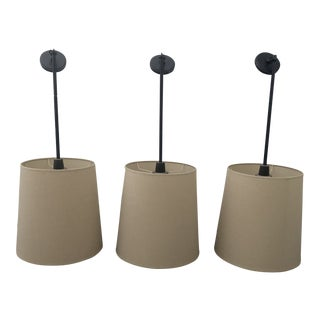 Robert Abbey Drum Pendant Lights - Set of 3 For Sale