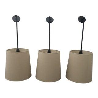 Robert Abbey Drum Pendant Lights - Set of 3 For Sale