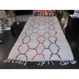 1960s Moroccan Beni Ourain Rug With Red, Blue, and Green Diamond Motif Preview