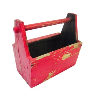 Rustic Red Tool Box Carrier Caddy
