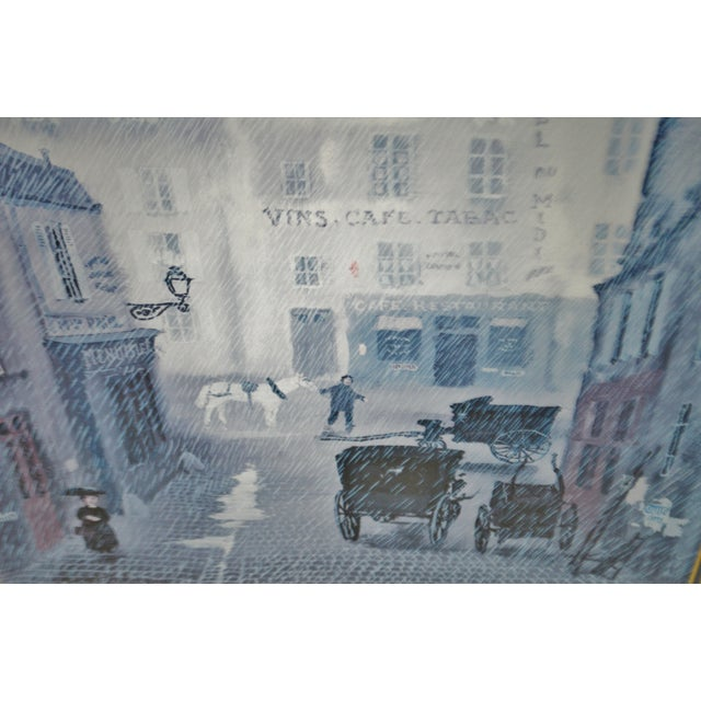 Vintage Framed Paris Street Scene Lithograph by Michel Delacroix For Sale In Philadelphia - Image 6 of 13