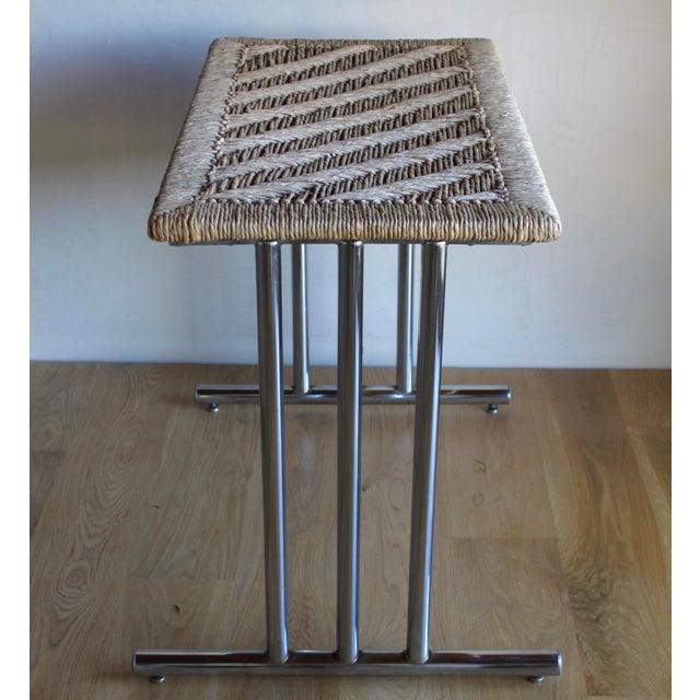 Adirondack Mid Century Modern Chromcraft Woven Rush Rattan & Chrome Dining Table For Sale - Image 3 of 10