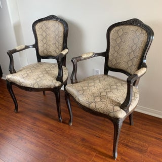 Snakeskin Italian Bergere Chairs With Brass Tacks - Pair Preview