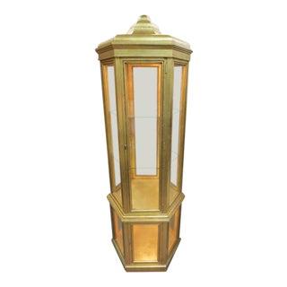 1970s Hollywood Regency Gold Leaf Octagon Curio Cabinet For Sale