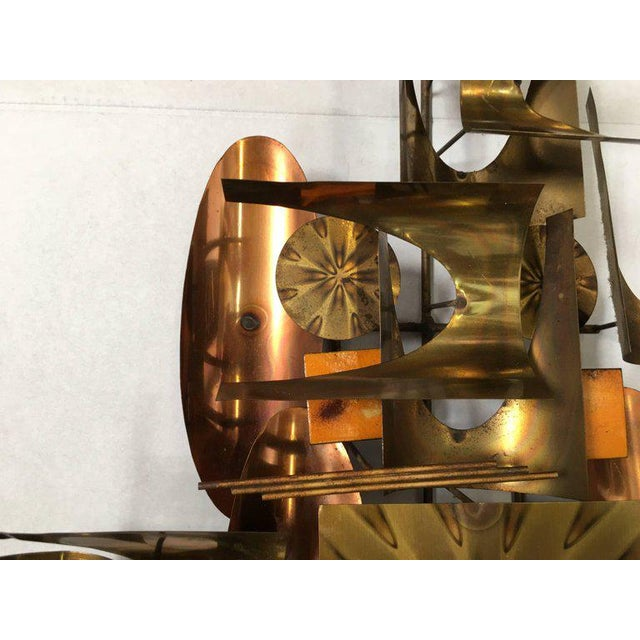 Brass William Vose for Curtis Jere Brass and Copper Brutalist Wall Sculpture Clock For Sale - Image 7 of 10