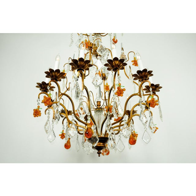 Gold Venetian Murano Crystal Fruit Design Chandelier For Sale - Image 8 of 11