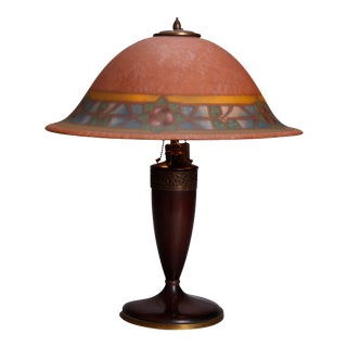 Antique Arts & Crafts Stylized Floral Reverse Paintedpoint Lamp, circa 1920 For Sale