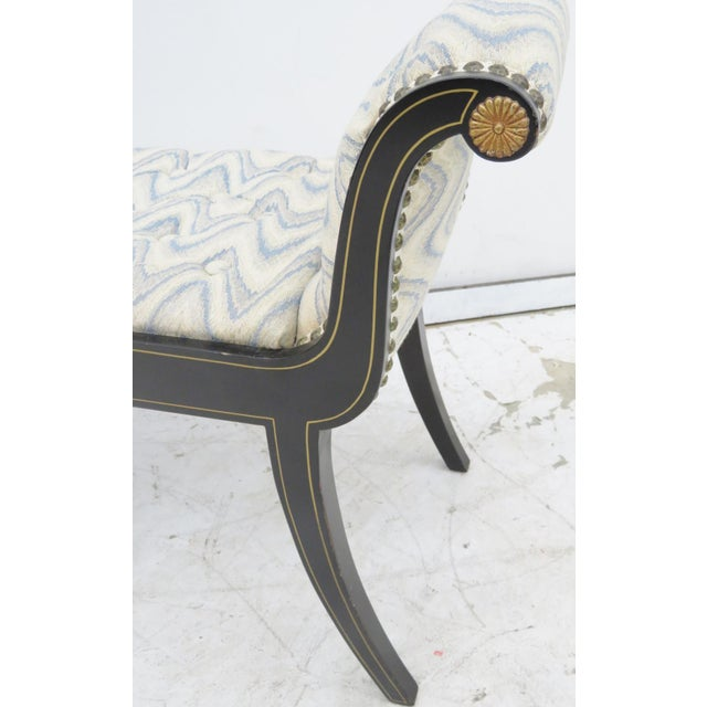 Regency Black Lacquer Tufted Bench - Image 2 of 5