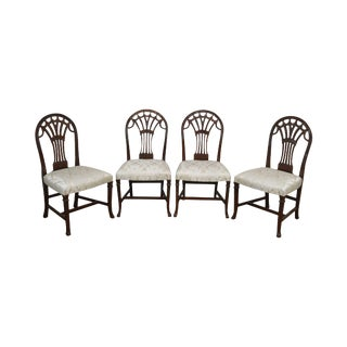 Maitland Smith Carved Mahogany Georgian Style Set 4 Dining Chairs For Sale