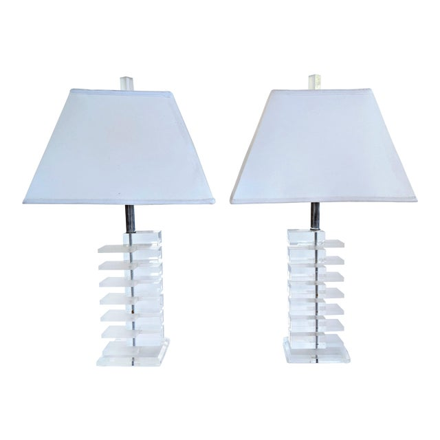 Mid-Century Modern Lucite Stacked Lamps - A Pair - Image 1 of 11