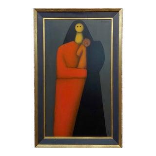 Jesus Leuus 1965 Minimalist Mother in Red - Oil Painting For Sale