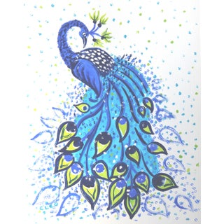 Art Nouveau Style Peacok Bird Painting by Cleo Plowden For Sale