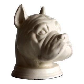 Vintage Boxer Dog Head Vase / Planter in White Glaze For Sale