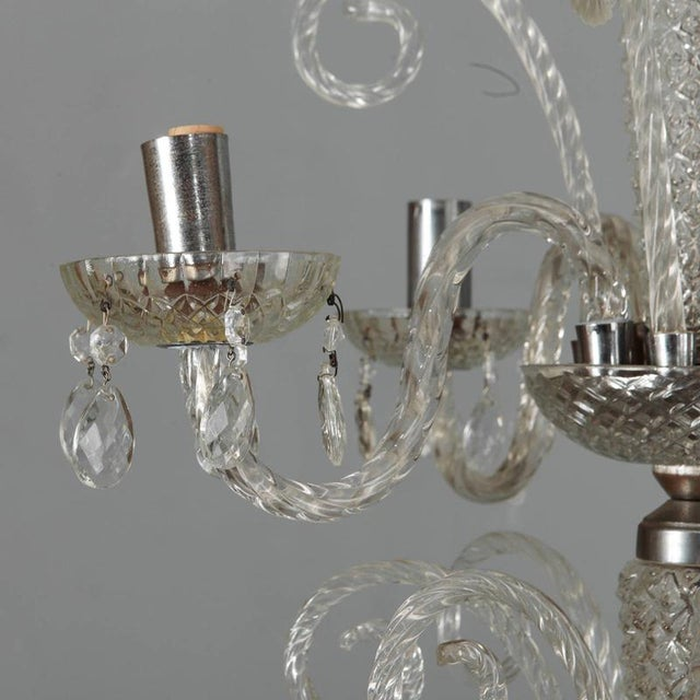 Italian Large Double Tier Murano Clear Glass Chandelier For Sale - Image 3 of 10
