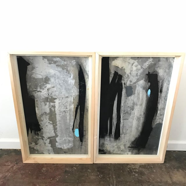 1960s Vintage Graham Harmon Abstract Black and White Paintings - a Pair For Sale - Image 9 of 9