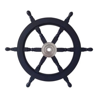 Early 19th Century Nautical Handcrafted 24 Inch Dark Blue Wooden Ship Wheel, Home Wall Décor For Sale