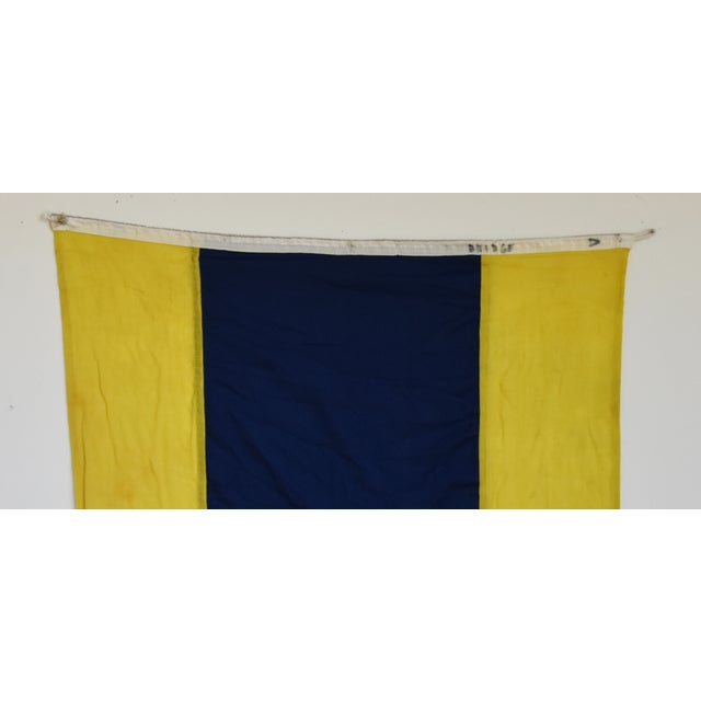 "Vintage Maritime Nautical Naval Signal ""D"" Flag - 49"" X 34"" For Sale - Image 4 of 6"