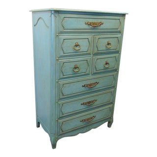 French Provincial Turquoise Distressed High Chest For Sale