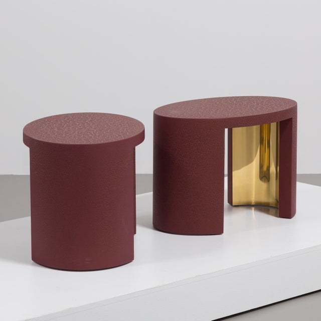 Talisman Bespoke The Oval Crackle Side Tables by Talisman Bespoke (Burgundy and Gold) For Sale - Image 4 of 8