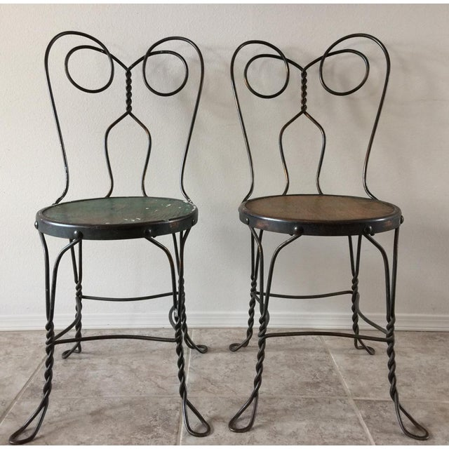 Art Deco Vintage Bistro Ice Cream Parlor Chairs - Set of 4 For Sale - Image 3 of 11