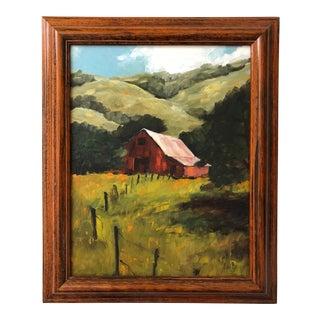 Original Red Barn Framed Oil Painting For Sale